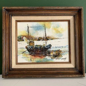Adriano Marchello Vintage Wharf Boats Oil Painting